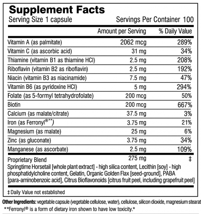 Hair, Skin & Nails Plus Formula supplement facts