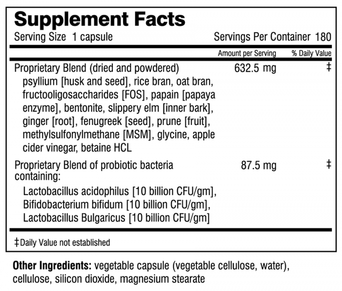 Squeaky Clean supplement facts