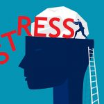 illustration of man pushing stress out of mind